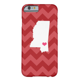 Personalized Red Chevron Mississippi Heart Barely There iPhone 6 Case