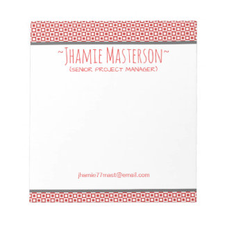 Personalized Red Squares and Squares Notepad