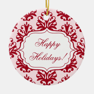 Personalized Red White Damask Ornament Christmas