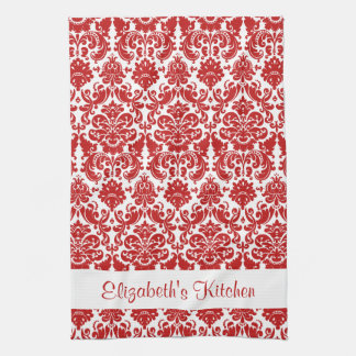 Personalized Red White Vintage Damask Tea Towel