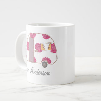 Personalized Retro Design Caravan Owner Jumbo Mugs