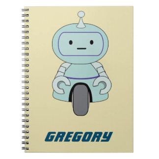 Personalized Retro Robot Illustration Note Books