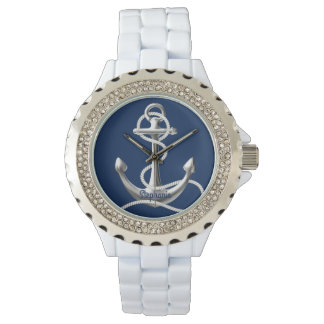 Personalized rhinestone watch silver anchor