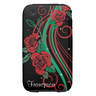 Personalized Rose leaves and Swirls iPhone 3 Tough Case