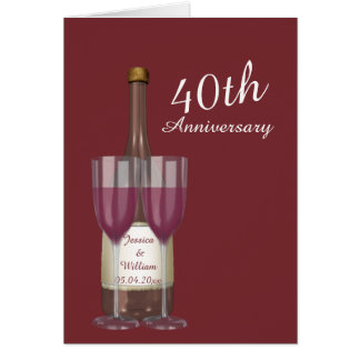 Personalized Ruby 40th Wedding Anniversary Greeting Card