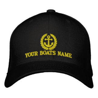 Personalized sailing boat name captains embroidered baseball caps