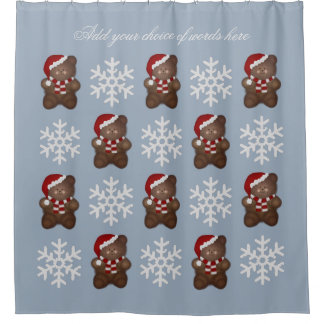 Personalized Santa Bear And Snowflakes Blue Shower Curtain