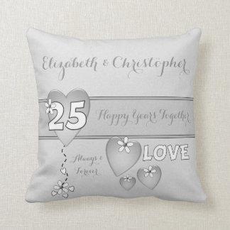 Personalized Silver Wedding Anniversary gray Cushion