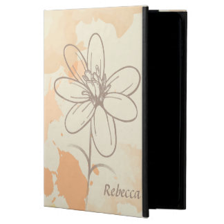 Personalized Sketched Floral on Watercolor Splats Powis iPad Air 2 Case