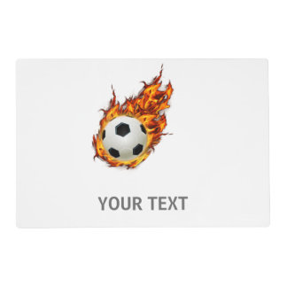 Personalized Soccer Ball on Fire Laminated Place Mat