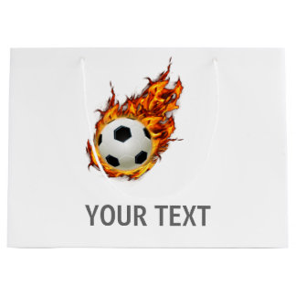 Personalized Soccer Ball on Fire Large Gift Bag