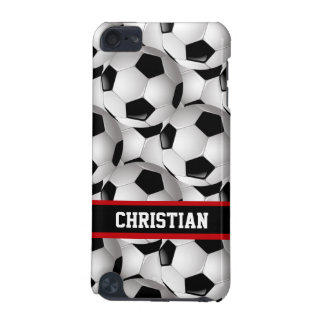Personalized Soccer Ball Pattern Black Red White iPod Touch 5G Cover