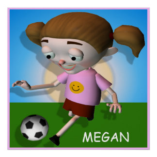 Personalized Soccer Kid Girl Poster