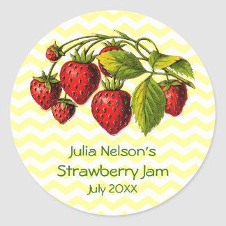 Personalized Strawberry Jam Jar Label Round Sticker