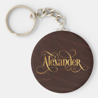 Personalized Swirly Script Alexander Gold Leather Basic Round Button Key Ring