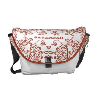 Personalized Tangerine Paisley Love Bird Pattern Messenger Bag