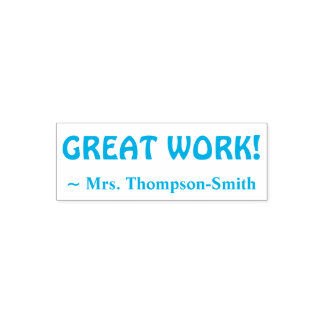 "Personalized Teacher Name + ""GREAT WORK!"" Self-inking Stamp"