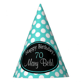 Personalized Teal and White Polka Dot Party Hat