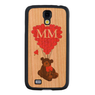 Personalized teddy bear and love heart carved® cherry galaxy s4 case