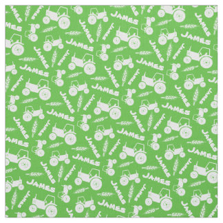 Personalized tractor wheat farm name green pattern fabric