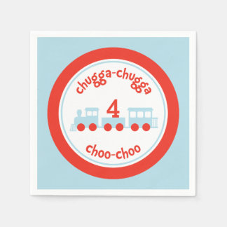Personalized Train Birthday Party Paper Napkins