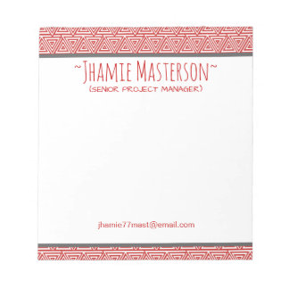 Personalized Tribangled Red Notepad