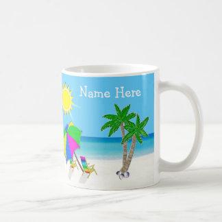 Personalized Tropical Coffee Mugs, 2 Text Boxes Basic White Mug