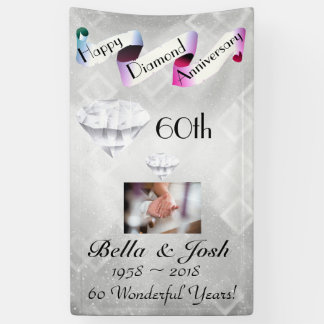 Personalized Vertical 60th Wedding Anniversary Banner