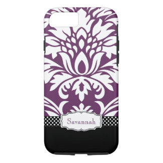 Personalized Vintage Eggplant Damask and Polka Dot iPhone 7 Case