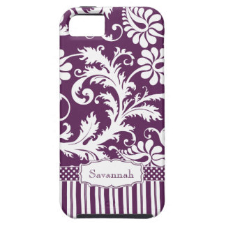 Personalized Vintage Eggplant Damask and Stripe iPhone 5 Case