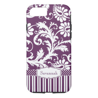 Personalized Vintage Eggplant Damask and Stripe iPhone 7 Case