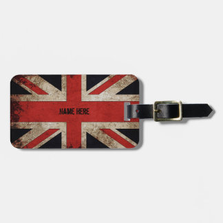 Personalized Vintage Grunge UK Flag Bag Tag