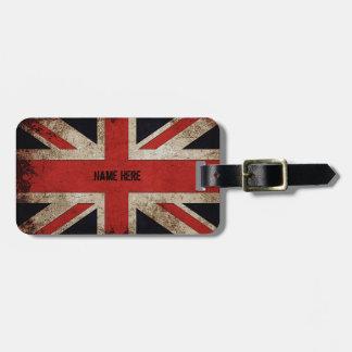 Personalized Vintage Grunge UK Flag Luggage Tag