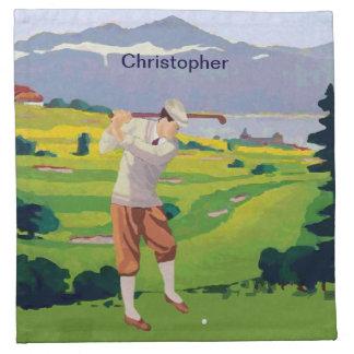 Personalized Vintage Style Highlands Golfing Scene Napkin
