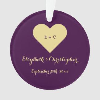 Personalized Wedding Anniversary Monogram Heart Ornament