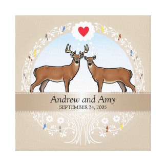 Personalized Wedding Date Anniversary, Buck & Doe Canvas Print
