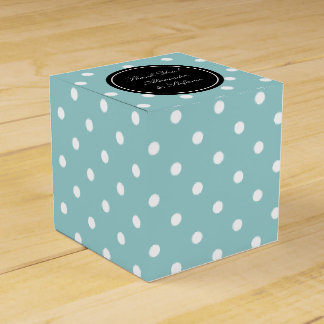 Personalized wedding favor box | Teal polkadots Wedding Favour Boxes