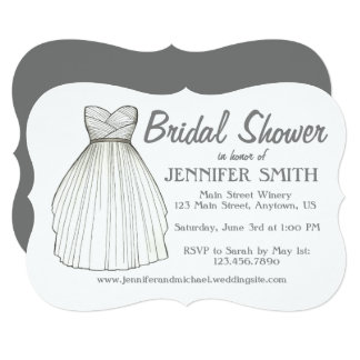 Personalized Wedding Gown Bridal Shower Invitation