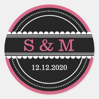 Personalized Wedding Monogram Seals|Pink Black Round Sticker