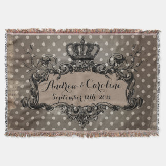 Personalized Wedding Royal Crown on Dots Throw