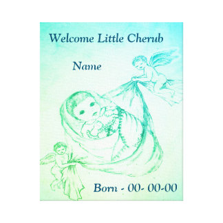 Personalized Welcome Little Cherub Canvas Print