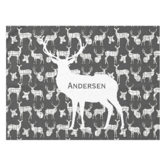 Personalized White Rustic Deer on Gray Tablecloth