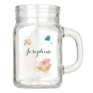Personalized with Name, watercolor flowers Mason Jar