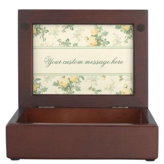 Personalized wood keepsake box yellow roses floral