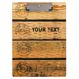 "Personalized Wood Planks Stamped w ""Made in USA"" Clipboard"