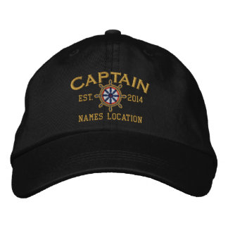 Personalized YEAR and Names Captain Wheel Embroidered Hats