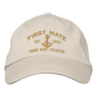 Personalized YEAR and Names for First Mate Anchor Embroidered Hats