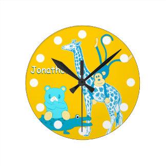 Personalized Yellow Blue Jungle Animal Wall Clock