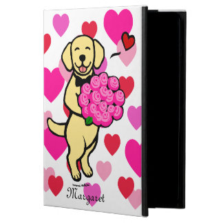 Personalized Yellow Labrador Cartoon Roses iPad Air Cover