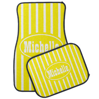 Personalized Yellow V Stripe Western Car Mat
